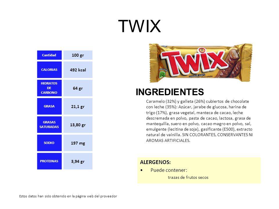 TWIX INGREDIENTES ALERGENOS: Puede contener: 100 gr 492 kcal 64 gr