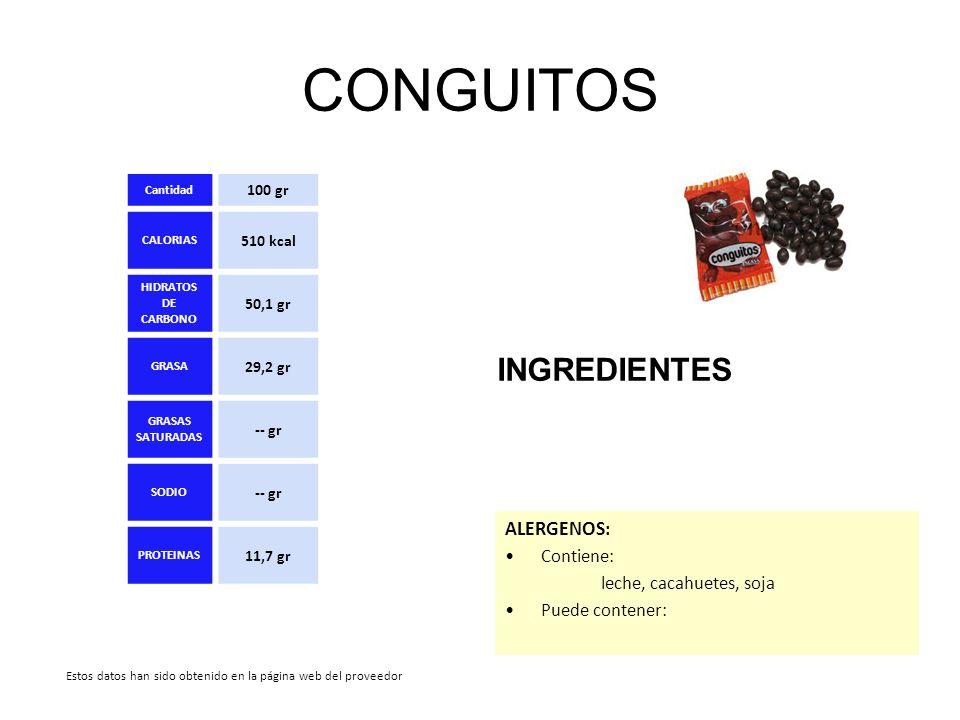 CONGUITOS INGREDIENTES ALERGENOS: Contiene: leche, cacahuetes, soja