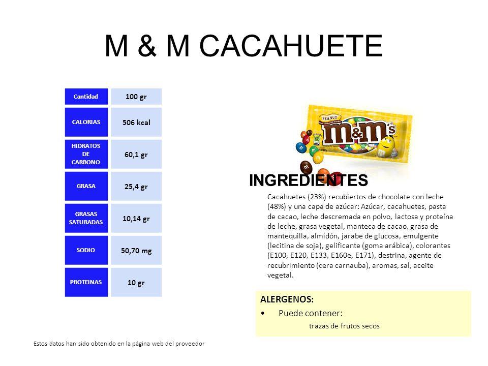 M & M CACAHUETE INGREDIENTES ALERGENOS: Puede contener: 100 gr