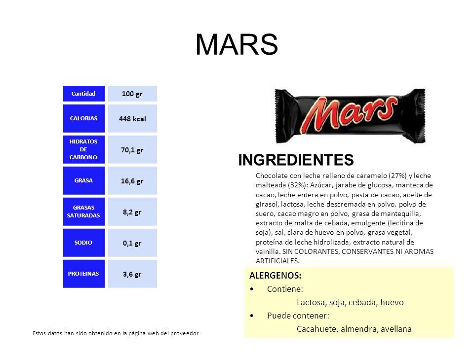 MARS INGREDIENTES ALERGENOS: Contiene: Lactosa, soja, cebada, huevo