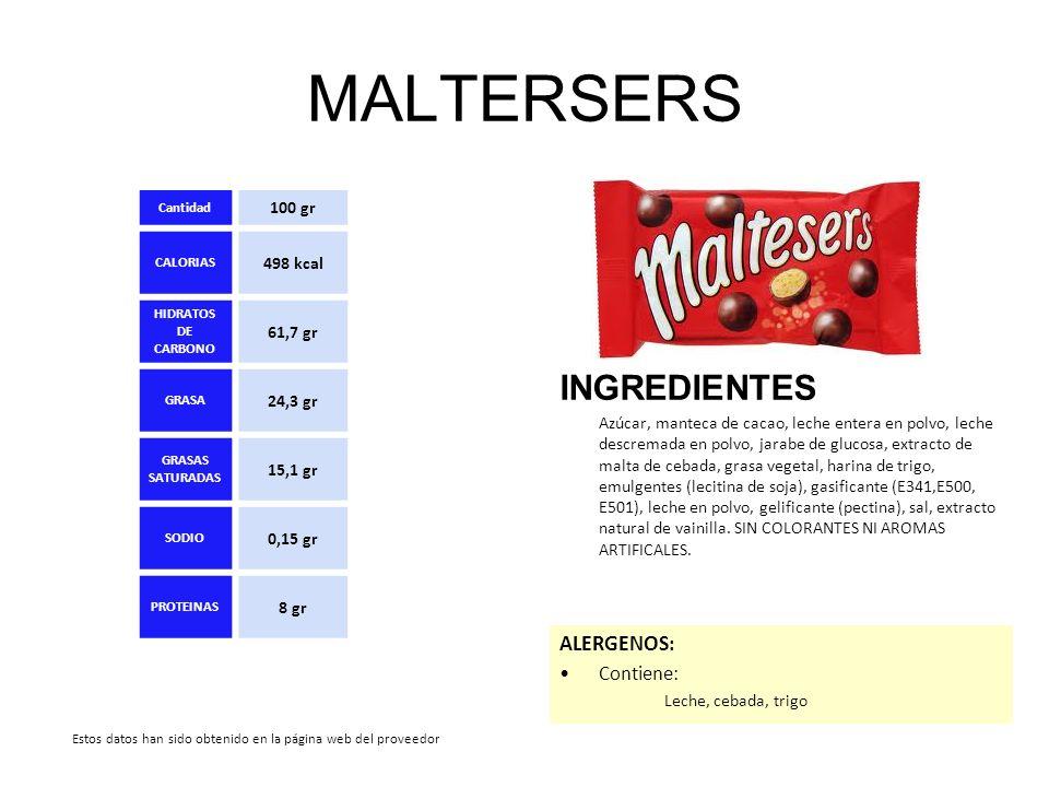 MALTERSERS INGREDIENTES ALERGENOS: Contiene: 100 gr 498 kcal 61,7 gr