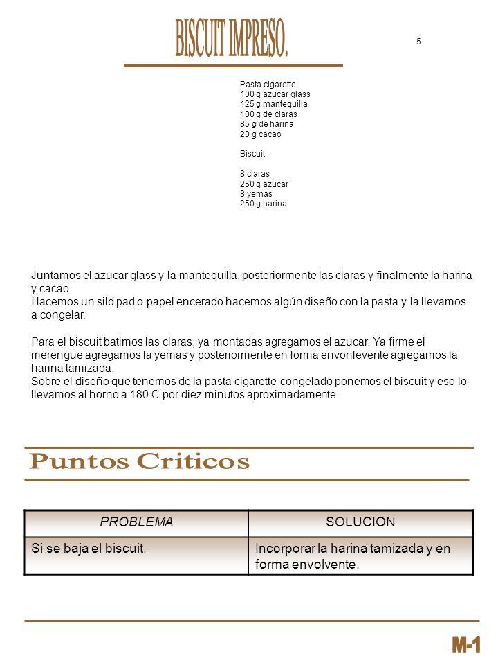 BISCUIT IMPRESO. Puntos Criticos PROBLEMA SOLUCION