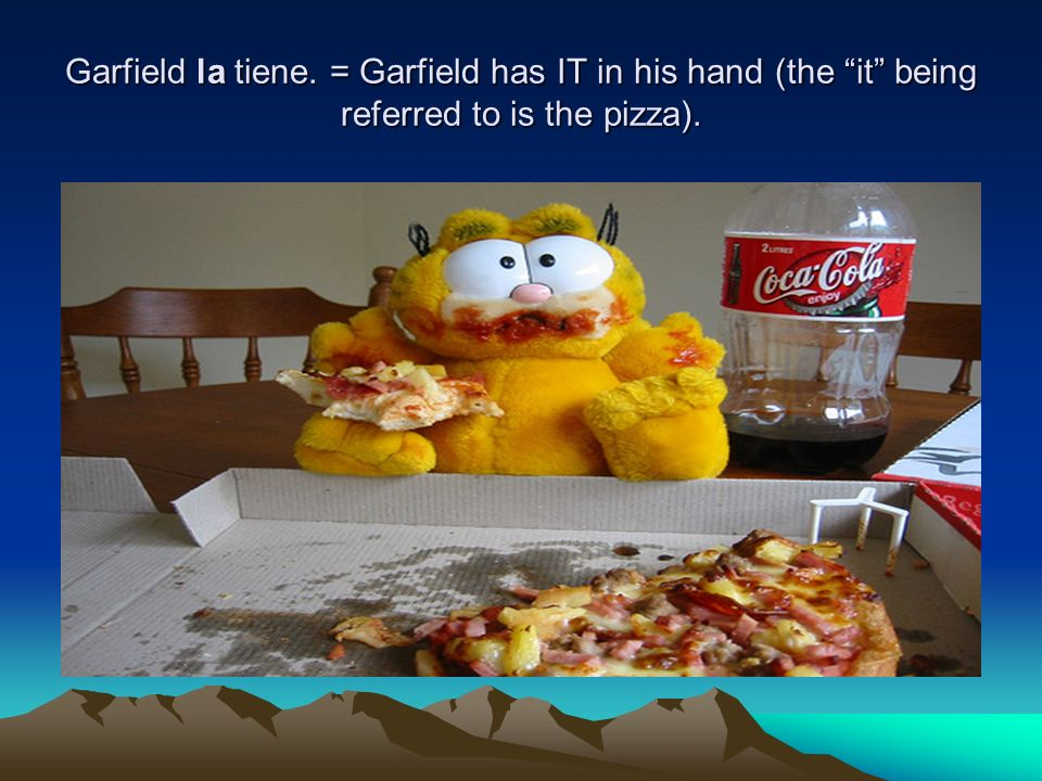 Garfield la tiene. = Garfield has IT in his hand (the it being referred to is the pizza).