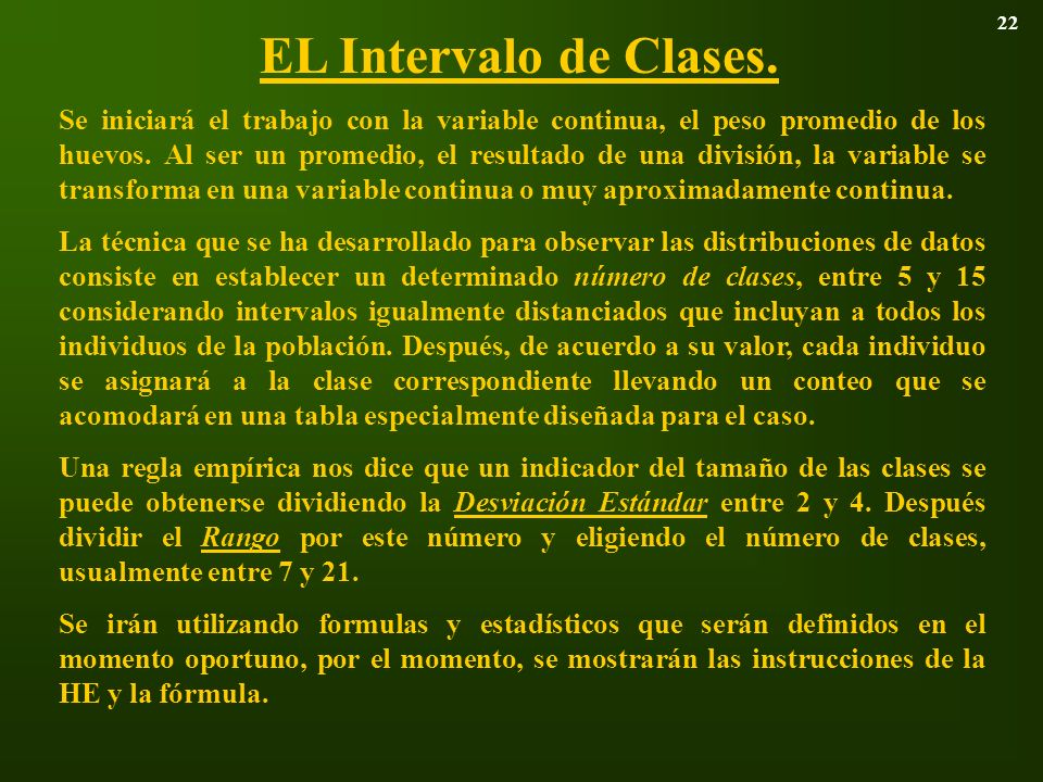 22 EL Intervalo de Clases.
