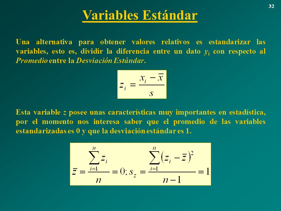 32 Variables Estándar.