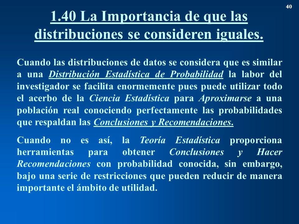 1.40 La Importancia de que las distribuciones se consideren iguales.