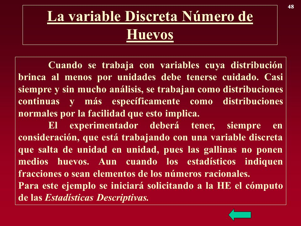 La variable Discreta Número de Huevos