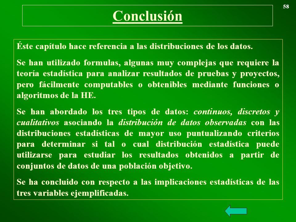 58 Conclusión. Éste capítulo hace referencia a las distribuciones de los datos.