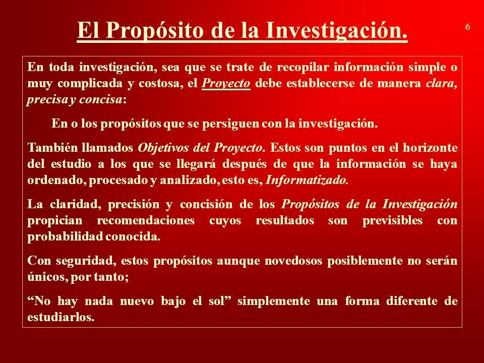 El Propósito de la Investigación.