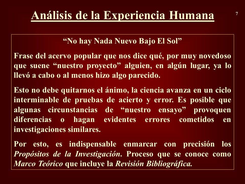 Análisis de la Experiencia Humana No hay Nada Nuevo Bajo El Sol