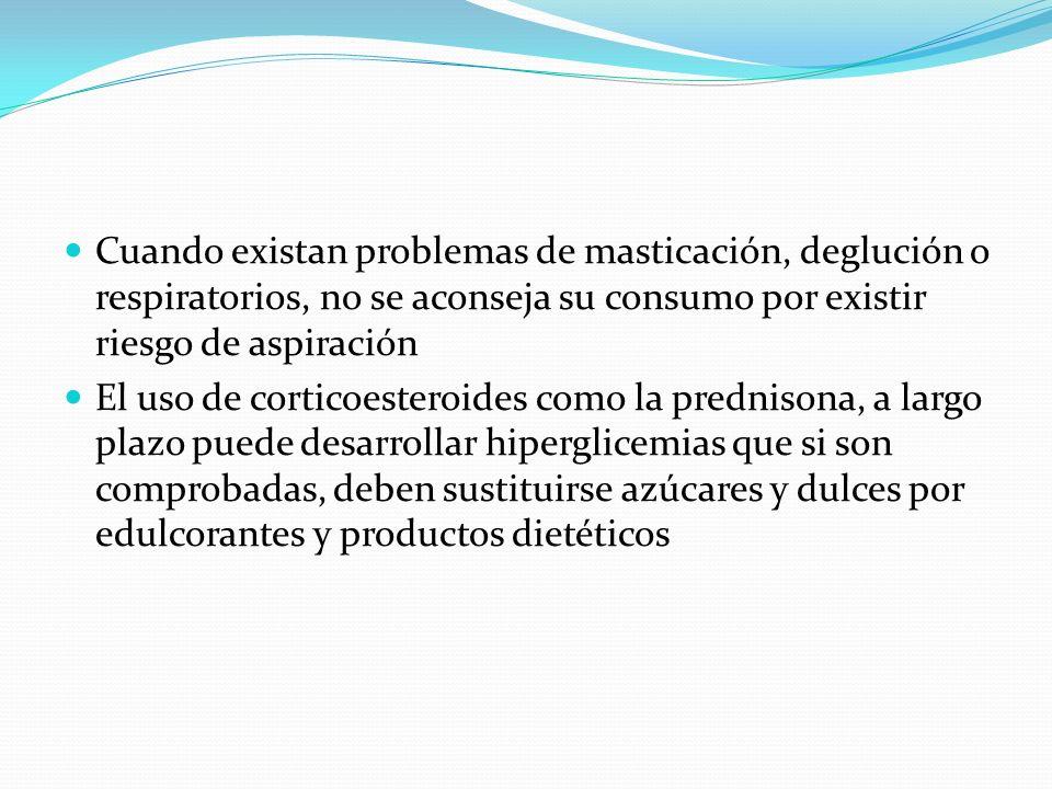 Cuando existan problemas de masticación, deglución o respiratorios, no se aconseja su consumo por existir riesgo de aspiración