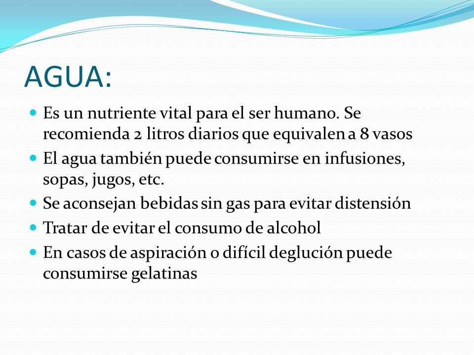 AGUA: Es un nutriente vital para el ser humano. Se recomienda 2 litros diarios que equivalen a 8 vasos.