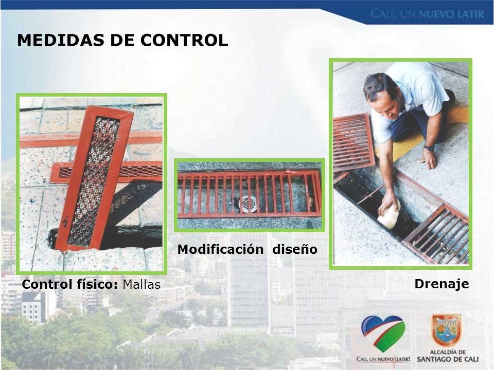 MEDIDAS DE CONTROL Modificación diseño Control físico: Mallas Drenaje