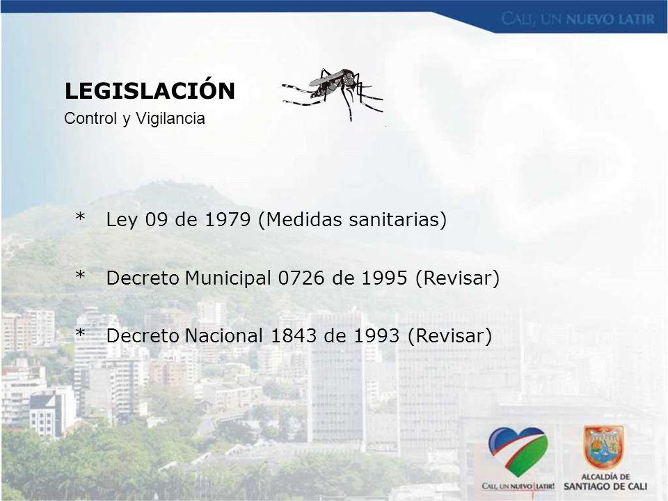 LEGISLACIÓN * Ley 09 de 1979 (Medidas sanitarias)