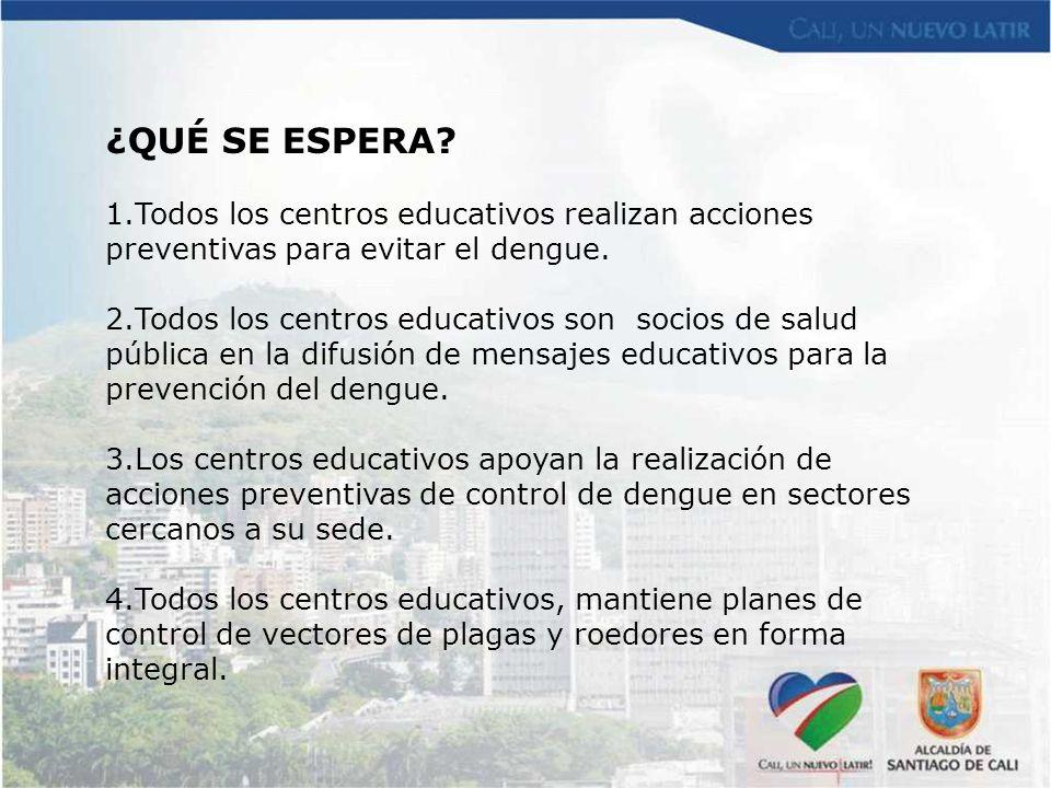 ¿QUÉ SE ESPERA Todos los centros educativos realizan acciones preventivas para evitar el dengue.