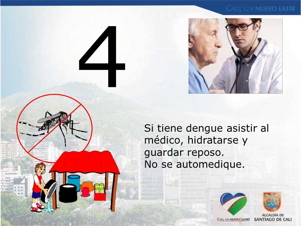 4 Si tiene dengue asistir al médico, hidratarse y guardar reposo.