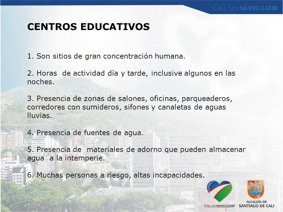 CENTROS EDUCATIVOS Son sitios de gran concentración humana.