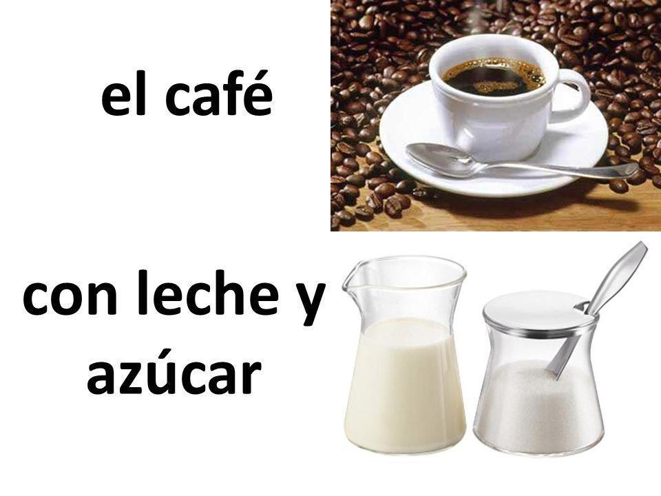 el café con leche y azúcar