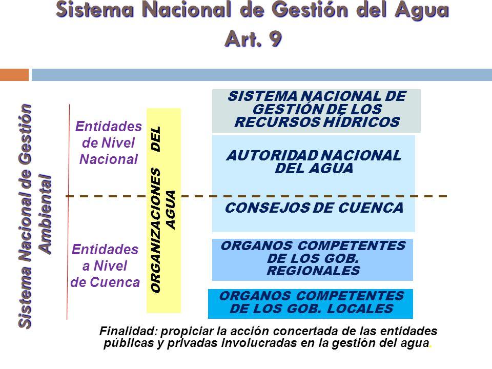 Sistema Nacional de Gestión del Agua Art. 9