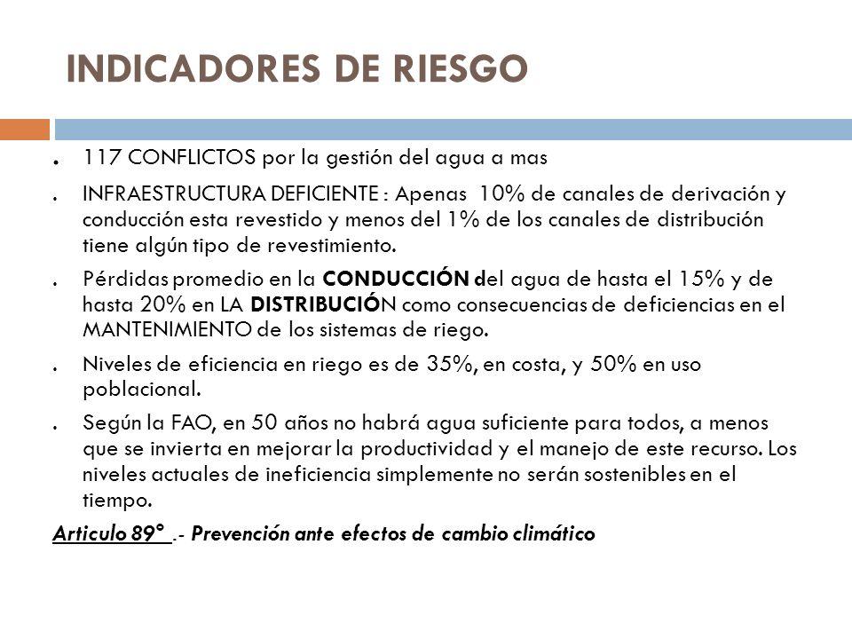 INDICADORES DE RIESGO . 117 CONFLICTOS por la gestión del agua a mas