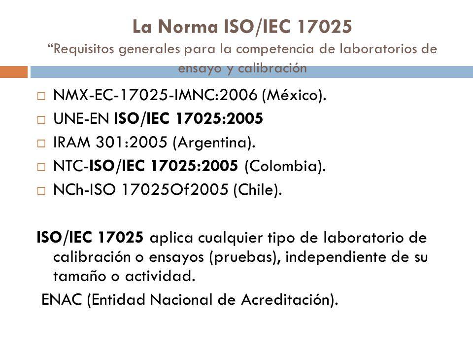 La Norma ISO/IEC 17025 Requisitos generales para la competencia de laboratorios de ensayo y calibración
