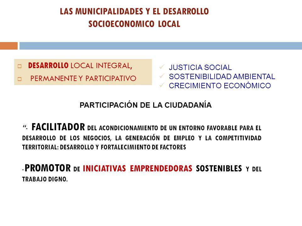 LAS MUNICIPALIDADES Y EL DESARROLLO SOCIOECONOMICO LOCAL