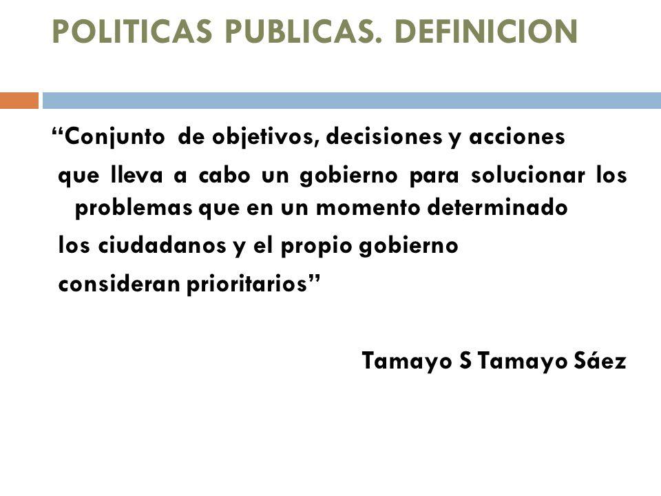 POLITICAS PUBLICAS. DEFINICION