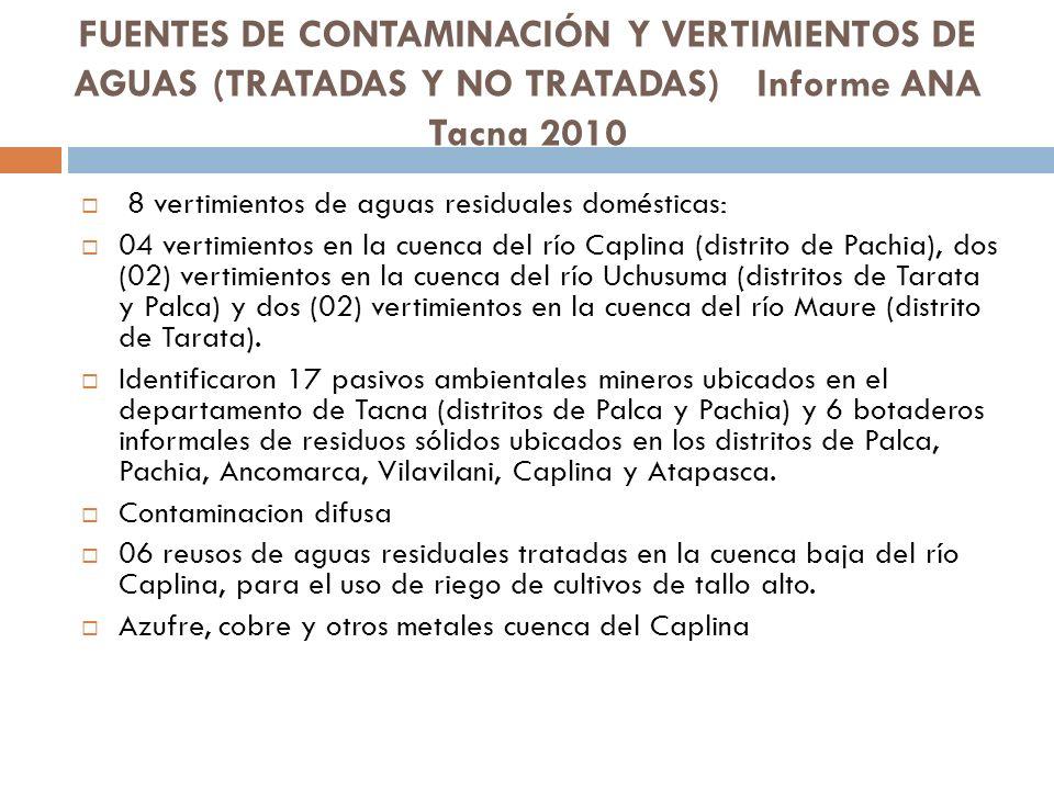 FUENTES DE CONTAMINACIÓN Y VERTIMIENTOS DE AGUAS (TRATADAS Y NO TRATADAS) Informe ANA Tacna 2010