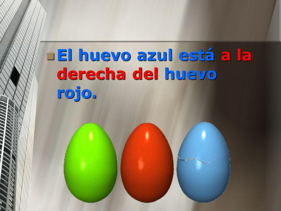El huevo azul está a la derecha del huevo rojo.