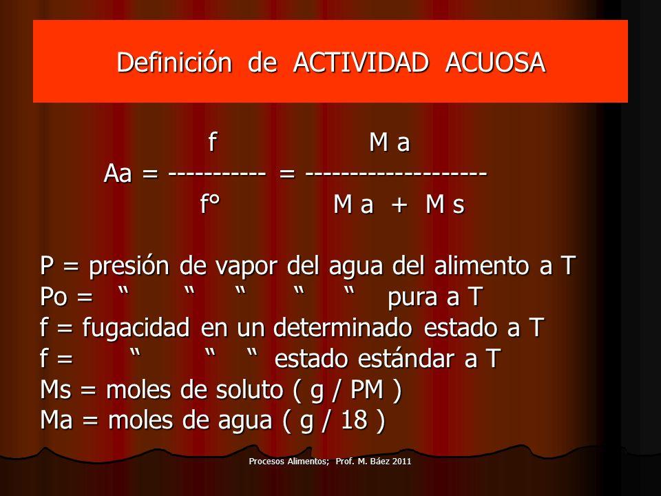Definición de ACTIVIDAD ACUOSA