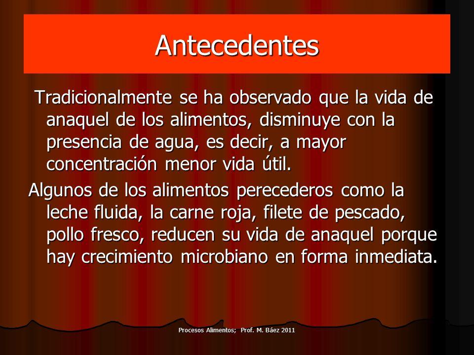 Procesos Alimentos; Prof. M. Báez 2011