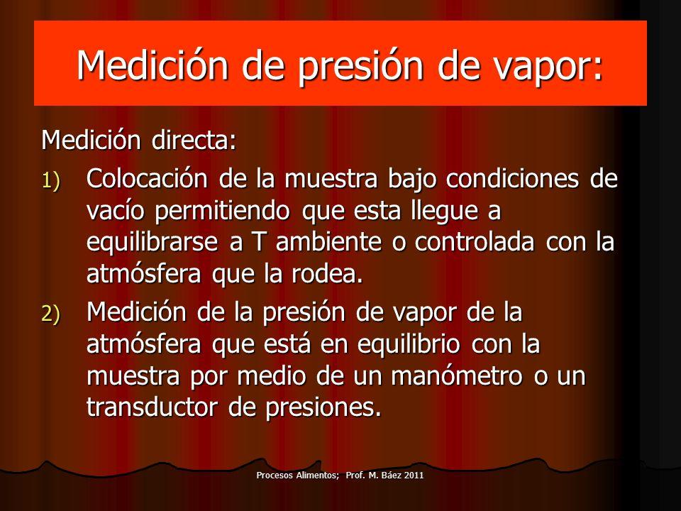 Medición de presión de vapor: