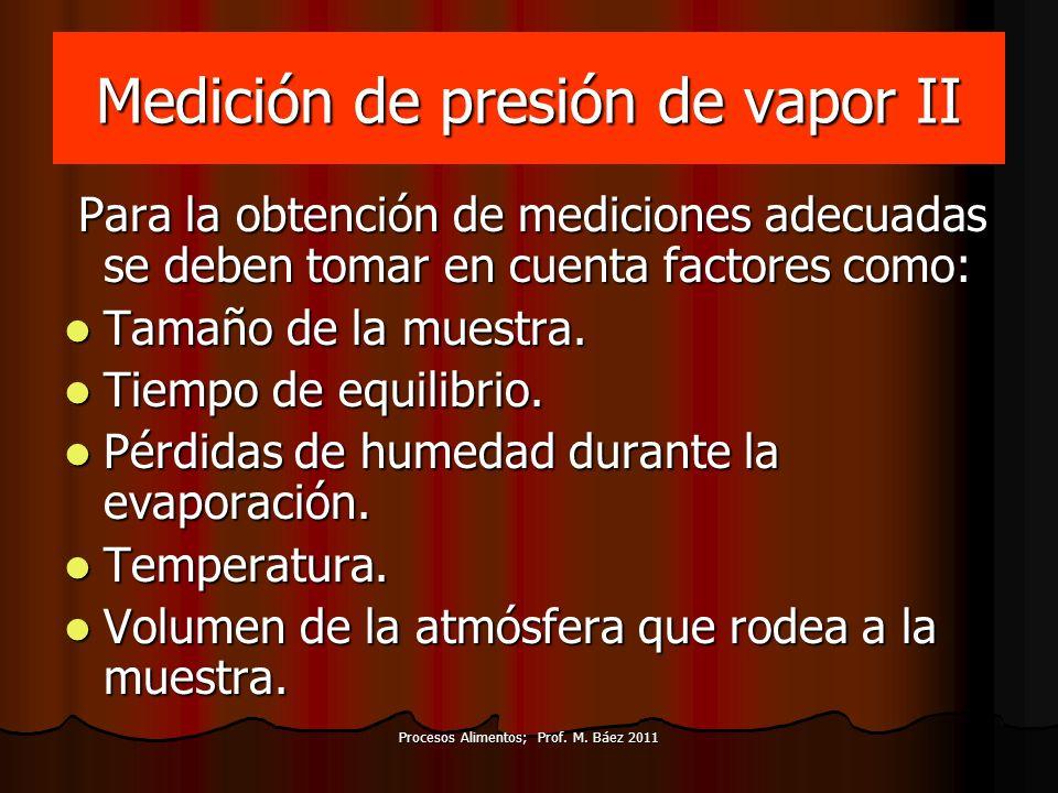 Medición de presión de vapor II