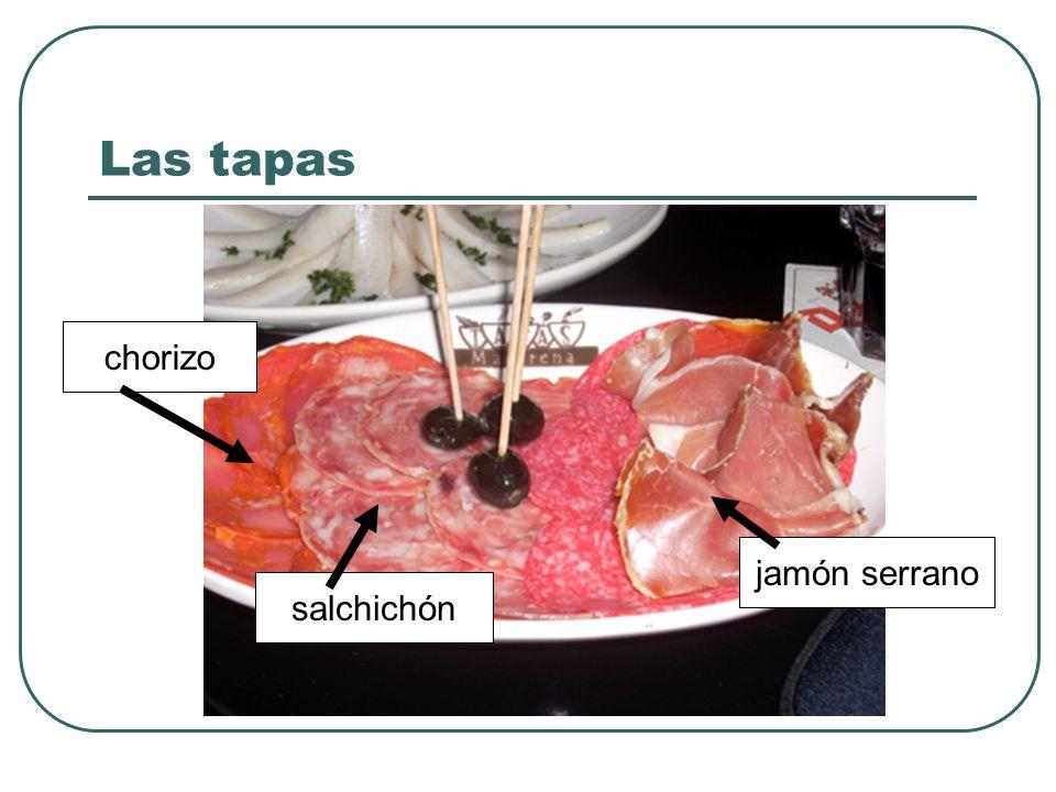 Las tapas chorizo jamón serrano salchichón