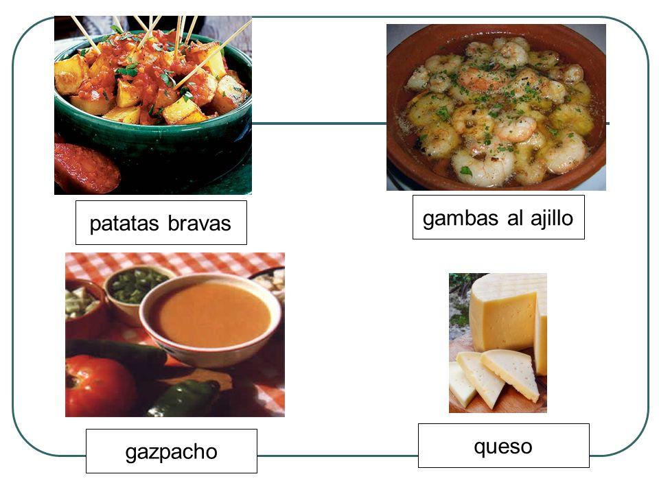 gambas al ajillo patatas bravas queso gazpacho