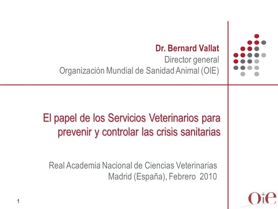 Dr. Bernard Vallat Director general. Organización Mundial de Sanidad Animal (OIE)
