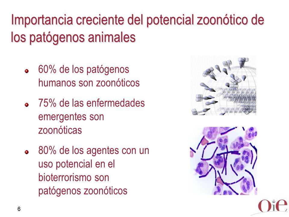 Importancia creciente del potencial zoonótico de los patógenos animales