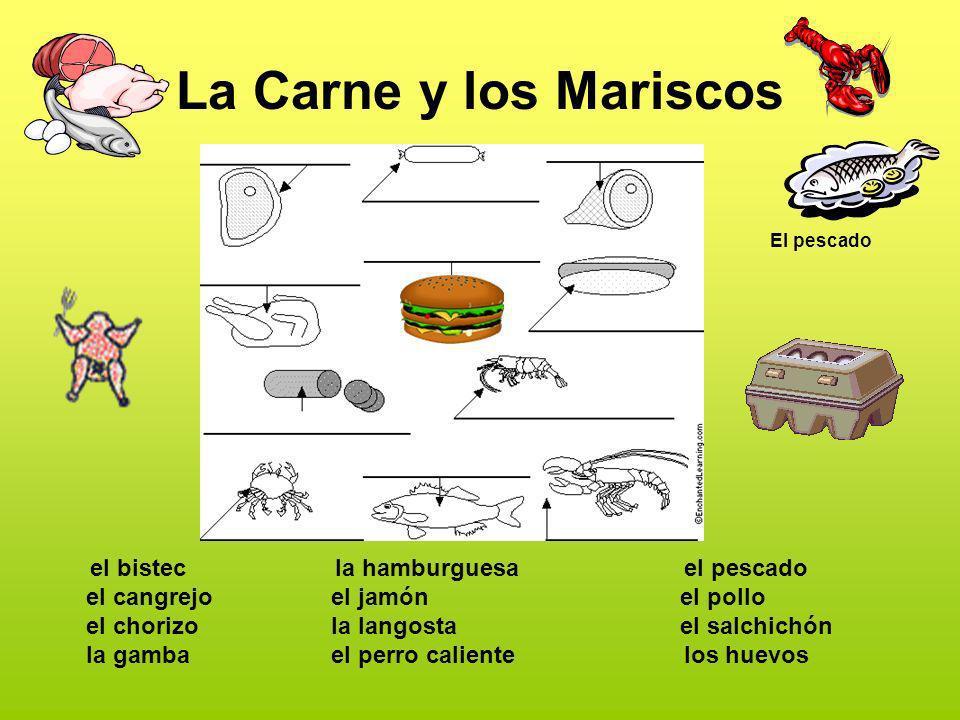 La Carne y los Mariscos el bistec el cangrejo el chorizo la gamba