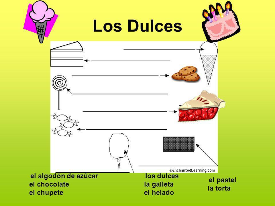 Los Dulces el algodón de azúcar el chocolate el chupete