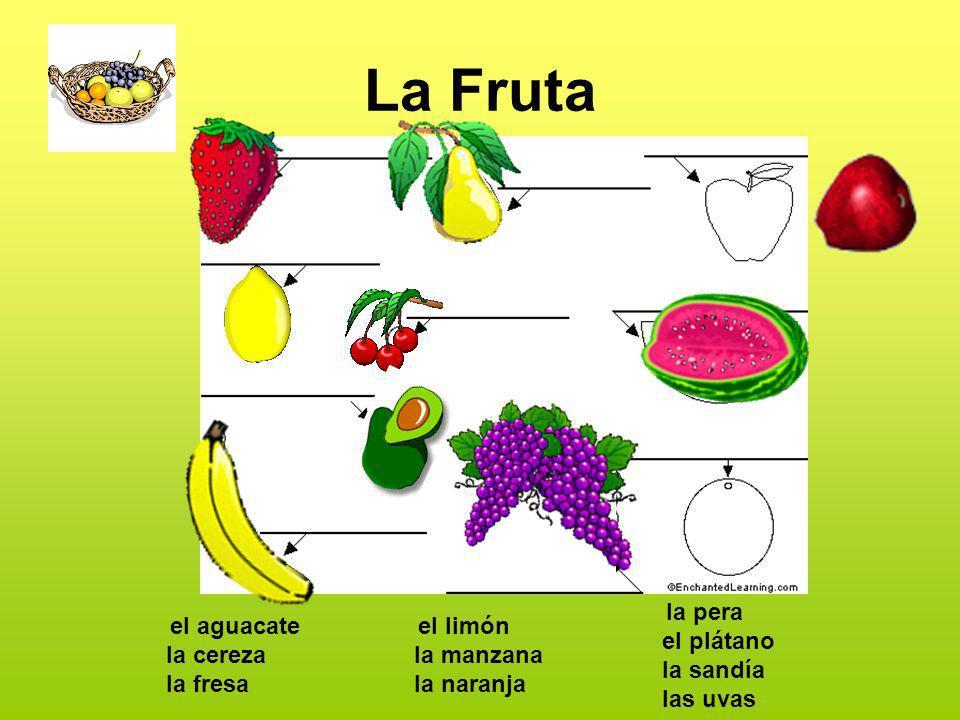 La Fruta el aguacate la cereza la fresa el limón la manzana la naranja