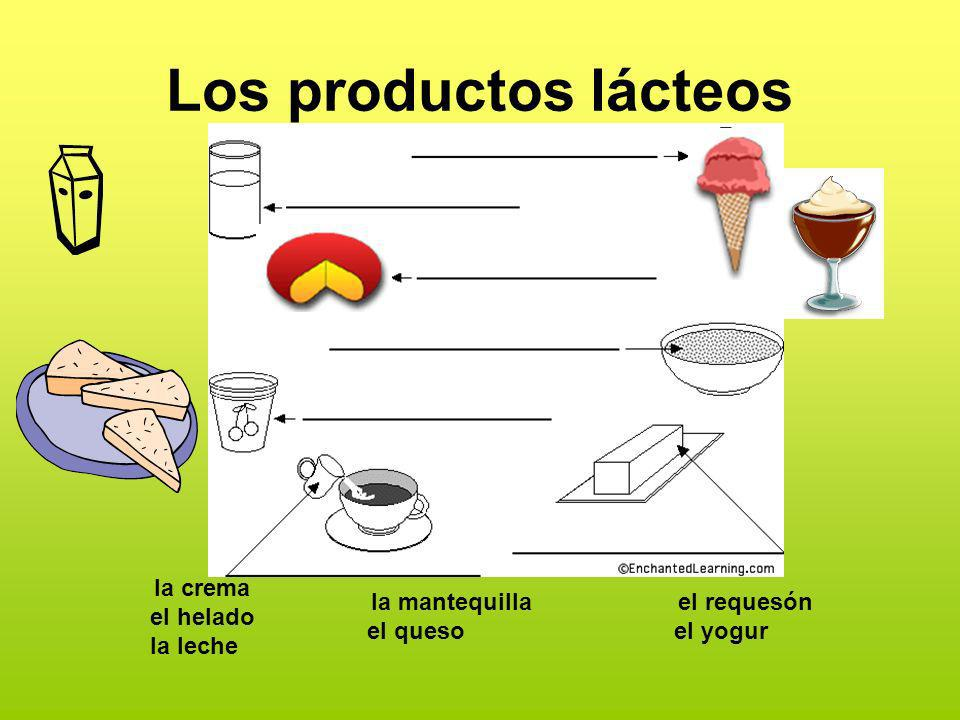 Los productos lácteos la crema el helado la leche
