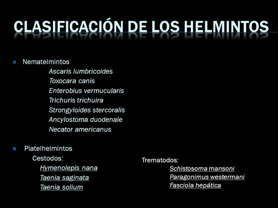 Clasificación de los helmintos