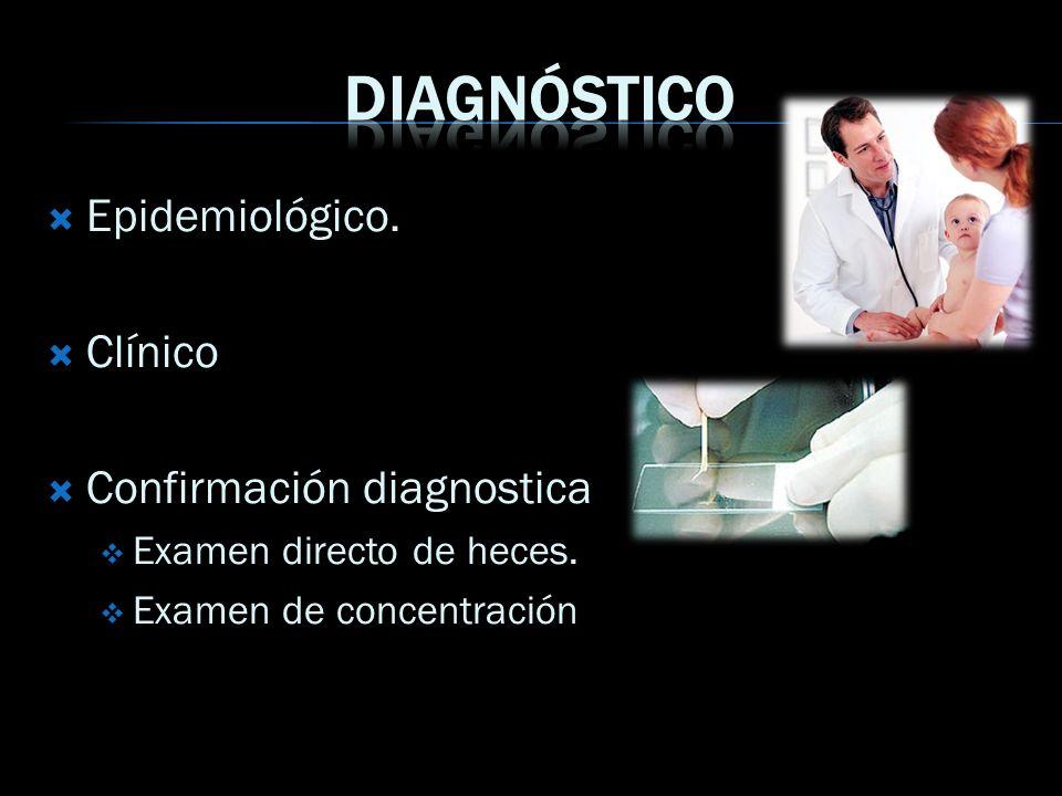 Diagnóstico Epidemiológico. Clínico Confirmación diagnostica