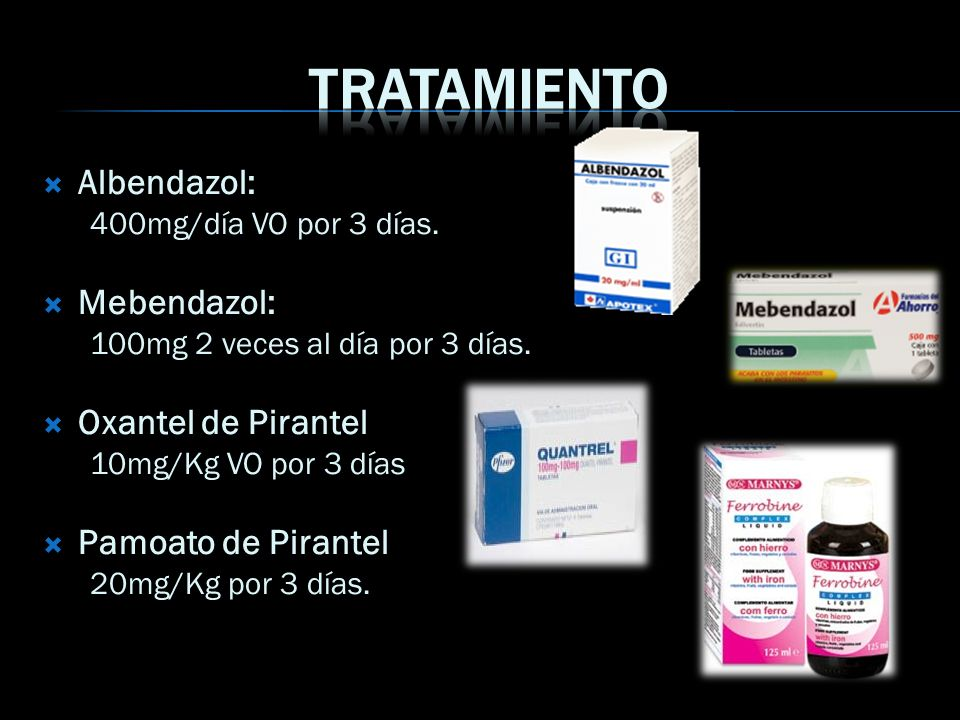 Tratamiento Albendazol: Mebendazol: Oxantel de Pirantel