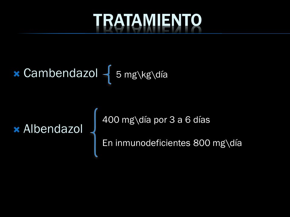 Tratamiento Cambendazol Albendazol 5 mg\kg\día