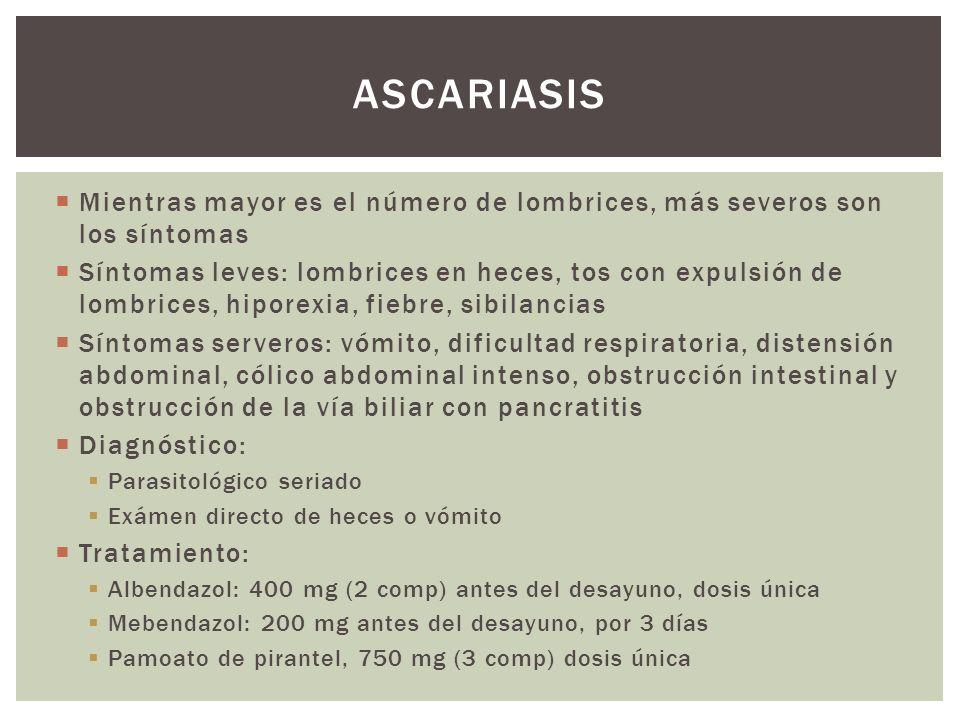ascariasis Mientras mayor es el número de lombrices, más severos son los síntomas.