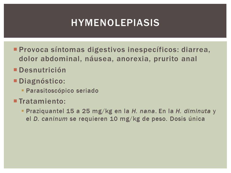 Hymenolepiasis Provoca síntomas digestivos inespecíficos: diarrea, dolor abdominal, náusea, anorexia, prurito anal.