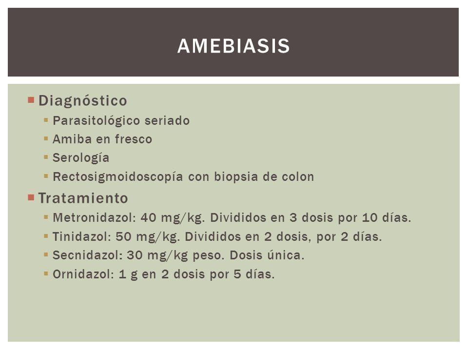 Amebiasis Diagnóstico Tratamiento Parasitológico seriado