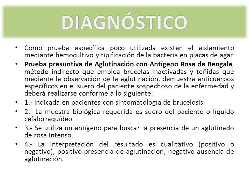 DIAGNÓSTICO Como prueba específica poco utilizada existen el aislamiento mediante hemocultivo y tipificación de la bacteria en placas de agar.