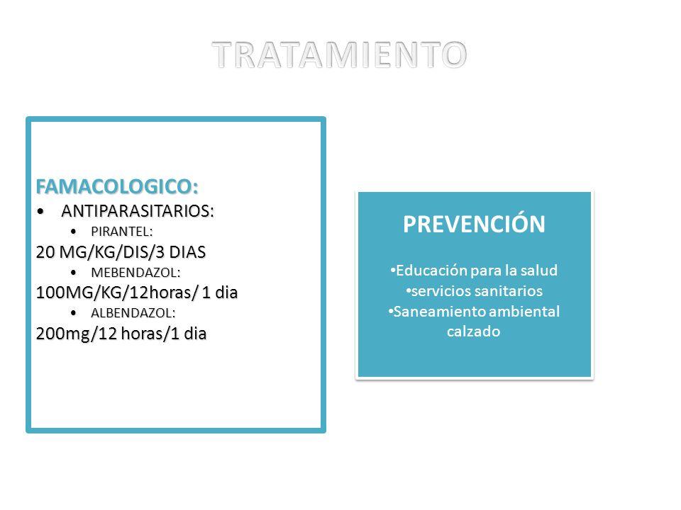 TRATAMIENTO PREVENCIÓN FAMACOLOGICO: ANTIPARASITARIOS: